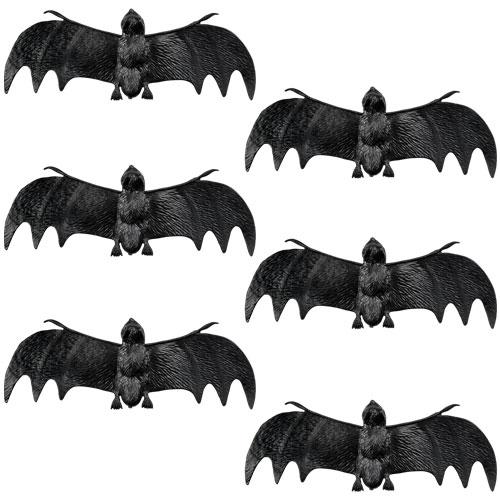 Plastic Bats Halloween Decorations - Pack of 6