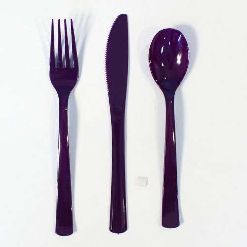 Purple Plastic Assorted Cutlery Set - Pack of 18