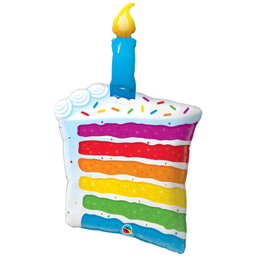 Rainbow Cake And Candle Helium Foil Giant Qualatex Balloon 107cm / 42 in