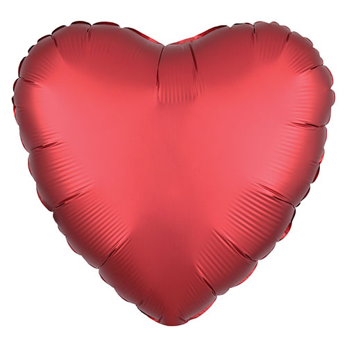 Sangria Red Satin Luxe Heart Shape Foil Helium Balloon 43cm / 17 in Product Image