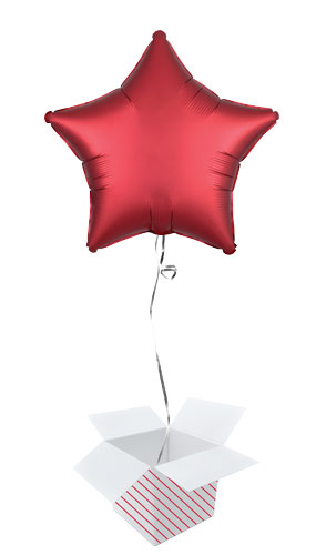 Sangria Red Satin Luxe Star Shape Foil Helium Balloon - Inflated Balloon in a Box