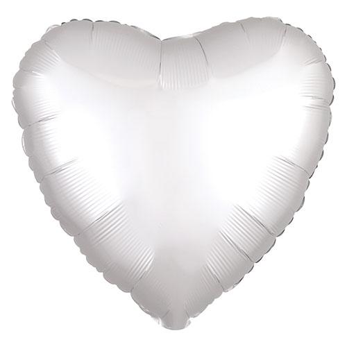 Shimmering White Satin Luxe Heart Shape Foil Helium Balloon 43cm / 17 in