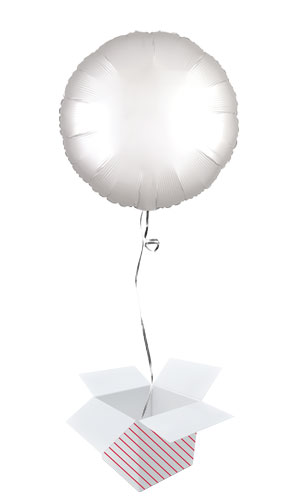 Shimmering White Satin Luxe Round Shape Foil Helium Balloon - Inflated Balloon in a Box