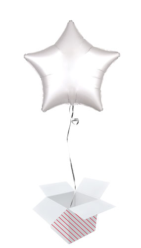 Shimmering White Satin Luxe Star Shape Foil Helium Balloon - Inflated Balloon in a Box