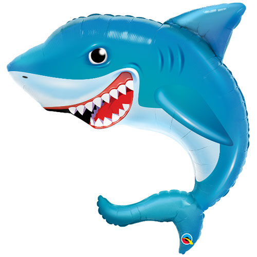 Smiling Shark Supershape Helium Foil Qualatex Balloon 91cm / 36 in Product Image