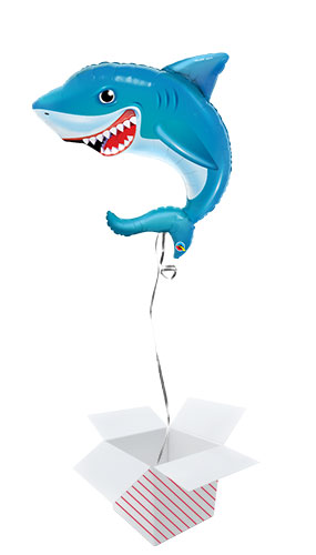 Smiling Shark Helium Foil Giant Qualatex Balloon - Inflated Balloon in a Box