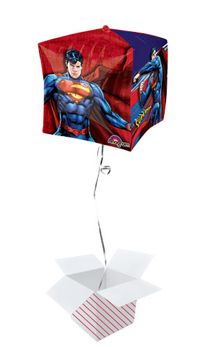 Superman Cubez Foil Helium Balloon - Inflated Balloon in a Box Product Gallery Image