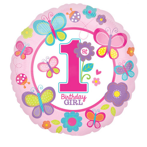 Sweet First Birthday Girl Round Foil Helium Balloon 43cm / 17 in