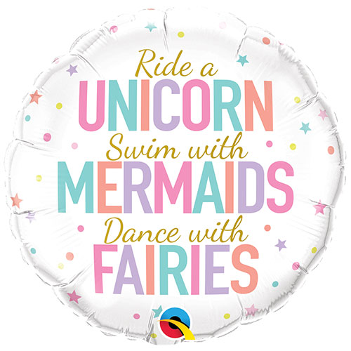 Unicorn Mermaids And Fairies Round Foil Helium Qualatex Balloon 46cm / 18 in