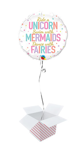 Unicorn Mermaids And Fairies Round Foil Helium Qualatex Balloon - Inflated Balloon in a Box