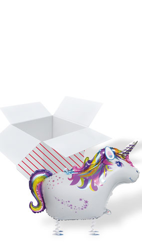 Unicorn Walking Pet Foil Helium Balloon - Inflated Balloon in a Box