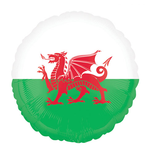 Wales Round Foil Helium Balloon 45cm / 18 in