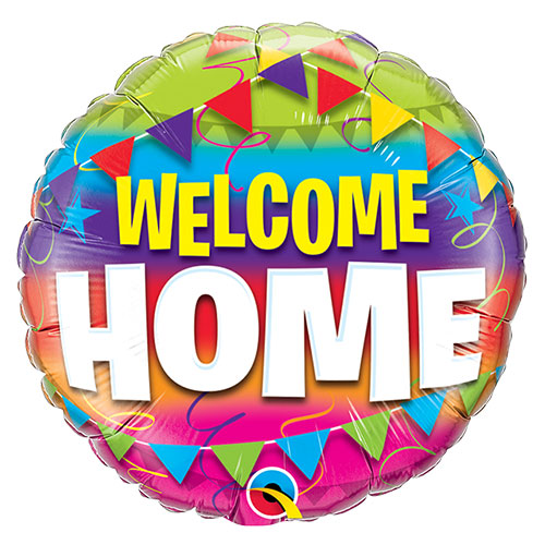 Welcome Home Pennants Round Foil Helium Qualatex Balloon 46cm / 18 in