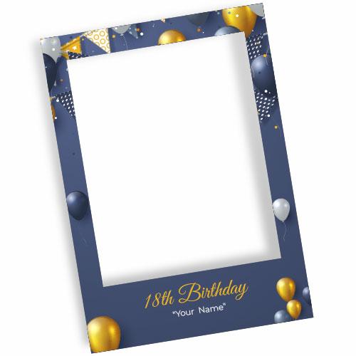 18th Birthday Navy Blue Personalised Selfie Frame Photo Prop