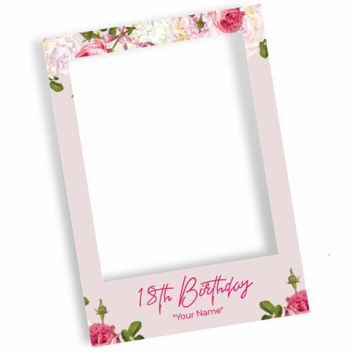 18th Birthday Pink Personalised Selfie Frame Photo Prop