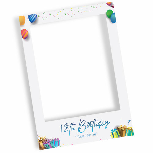 18th Birthday White Personalised Selfie Frame Photo Prop