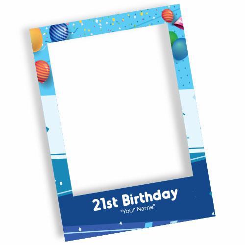 21st Birthday Blue Personalised Selfie Frame Photo Prop