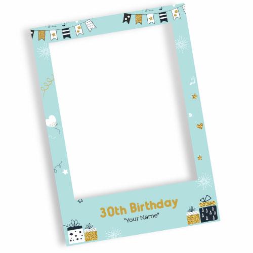 30th Birthday Baby Blue Personalised Selfie Frame Photo Prop