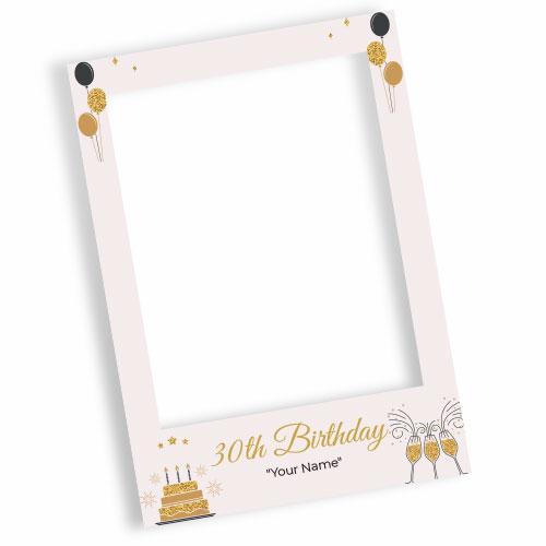 30th Birthday Cream Personalised Selfie Frame Photo Prop