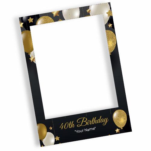 40th Birthday Black Personalised Selfie Frame Photo Prop