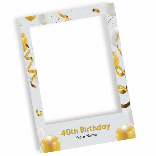 40th Birthday White Personalised Selfie Frame Photo Prop