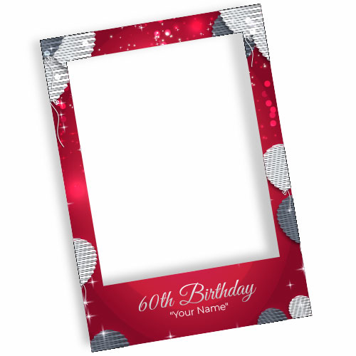 60th Birthday Red Personalised Selfie Frame Photo Prop