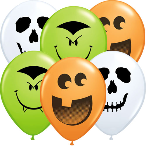 Assorted Halloween Faces Round Mini Latex Qualatex Balloons 13cm / 5 in - Pack of 10