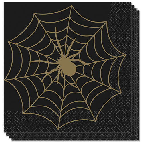 Gold Spider Web Halloween Luncheon Napkins 33cm 2Ply - Pack of 16 Bundle Product Image