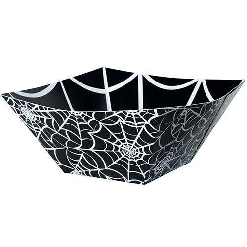 Halloween Spider Web Square Paper Snack Bowl 25cm