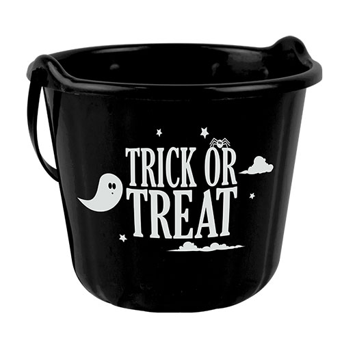 Black Halloween Trick Or Treat Candy Bucket 18cm
