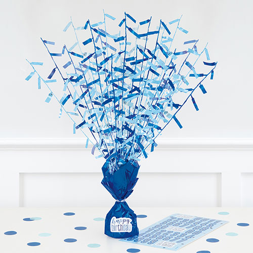 Blue Glitz Customisable Balloon Weight Centrepiece 43cm Product Image