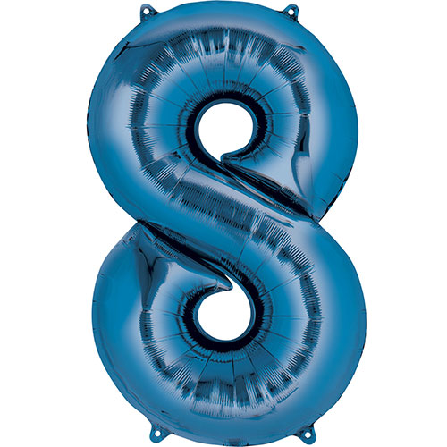 Blue Number 8 Air Fill Foil Balloon 40cm / 16 in Product Image