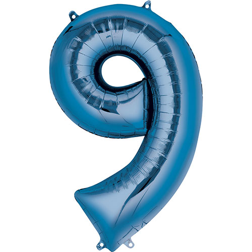 Blue Number 9 Air Fill Foil Balloon 40cm / 16 in