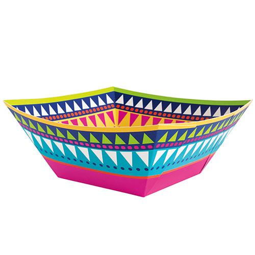 Boho Fiesta Square Paper Snack Bowl 22cm