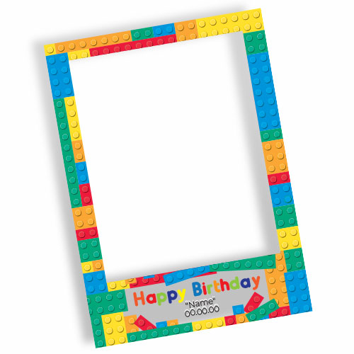 Building Blocks Happy Birthday Personalised Selfie Frame Photo Prop