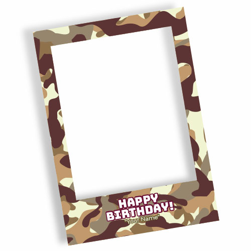Camouflage Happy Birthday Brown Personalised Selfie Frame Photo Prop