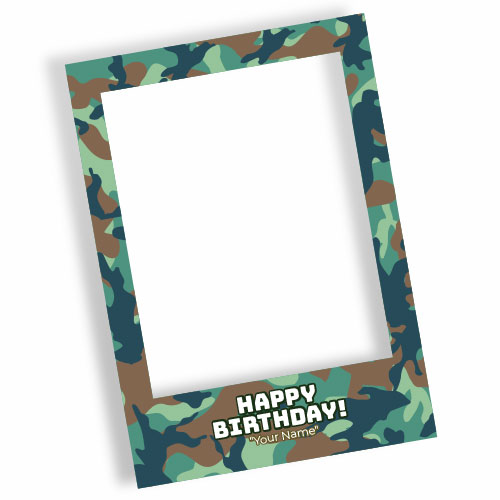 Camouflage Happy Birthday Green Personalised Selfie Frame Photo Prop