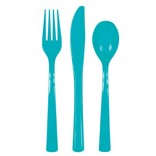 Caribbean Teal Plastic Assorted Cutlery Set - Pack of 18