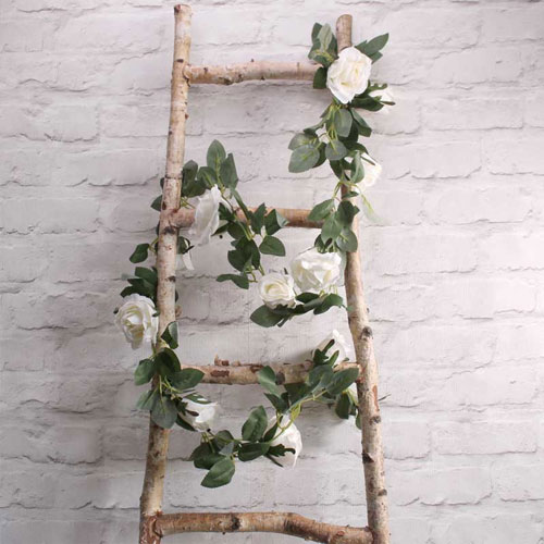 Cream Roses Artificial Silk Flowers Garland 175cm Product Gallery Image