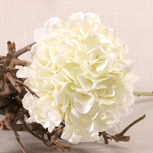 Cream Short Stem Hydrangea Artificial Silk Flower 51cm Product Gallery Image