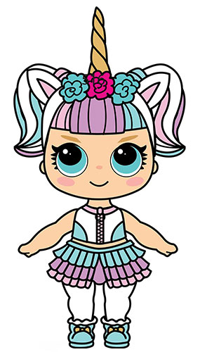 Cute Doll With Unicorn Horn Star Mini Cardboard Cutout 91cm Product Gallery Image