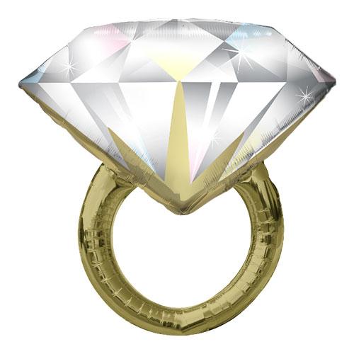 Diamond Wedding Ring Helium Foil Giant Qualatex Balloon 94cm / 37 in