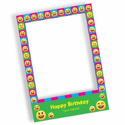 Emoji Happy Birthday Green Personalised Selfie Frame Photo Prop