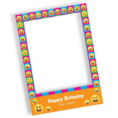 Emoji Happy Birthday Orange Personalised Selfie Frame Photo Prop
