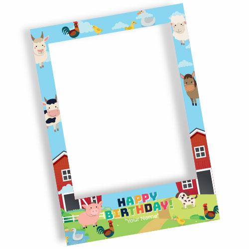 Farm Yard Happy Birthday Personalised Selfie Frame Photo Prop