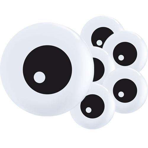 Friendly Eyeballs Topprint Halloween Round Mini Latex Qualatex Balloons 13cm / 5 in - Pack of 100