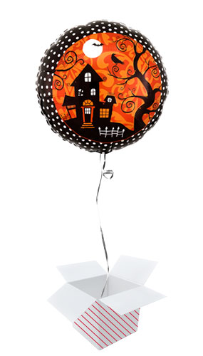 Frightfully Fancy Halloween Round Foil Helium Balloon - Inflated Balloon in a Box Product Gallery Image