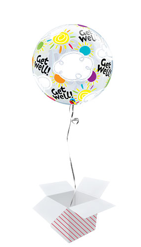 Get Well Soon Sunny Day Bubble Helium Qualatex Balloon - Inflated Balloon in a Box Product Gallery Image