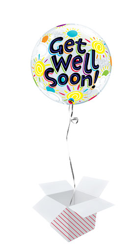 Get Well Soon Sunny Day Bubble Helium Qualatex Balloon - Inflated Balloon in a Box