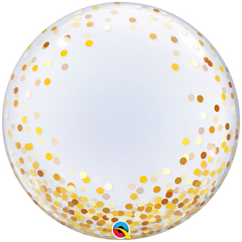 Gold Confetti Dots Deco Bubble Helium Qualatex Balloon 61cm / 24 in Product Image